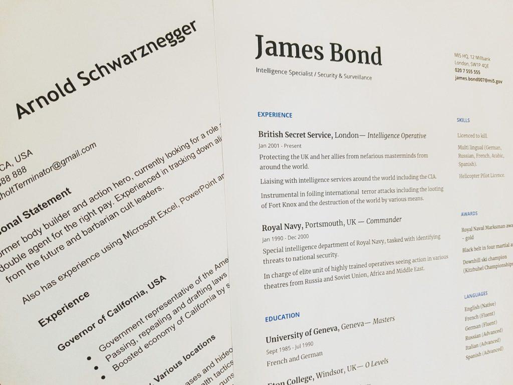 """Image d'illustration du titre """"curriculum vitae"""" présentant deux CV, l'un d'Arnold Schwarznegger et l'autre de James Bond."""