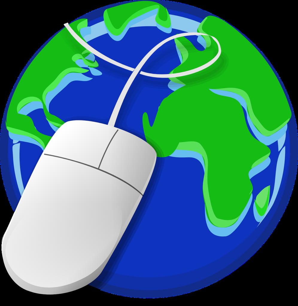 Image d'illustration montrant la planète Terre à laquelle est reliée une souris d'ordinateur.